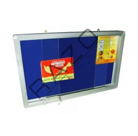 Sliding Glass Door Velvet Notice Board c/w Aluminium Frame 3' x 5'