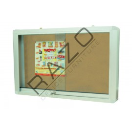 Sliding Glass Door Cork Notice Board c/w Aluminium Frame 2' x 3'