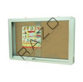 Sliding Glass Door Cork Notice Board c/w Aluminium Frame 4' x 6'