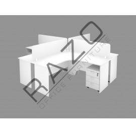 4 Partition Team Workstation | Office Partition Workstation -FML-1818W
